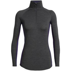 Icebreaker 200 Zone T-shirt manches longues zip pectoral Femme, jet heather/lotus